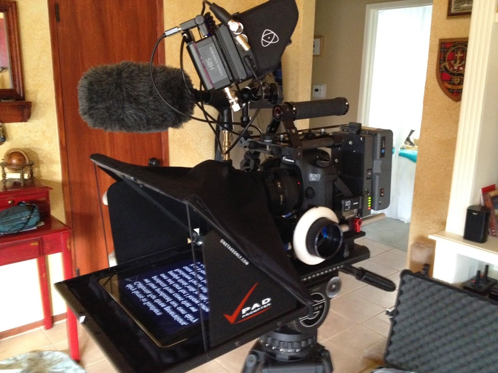 Canon 5D2 in cine configuration with teleprompter