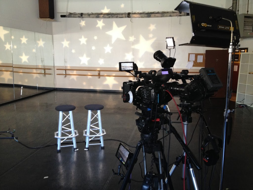cameras set up for 2 person interview at dance studio