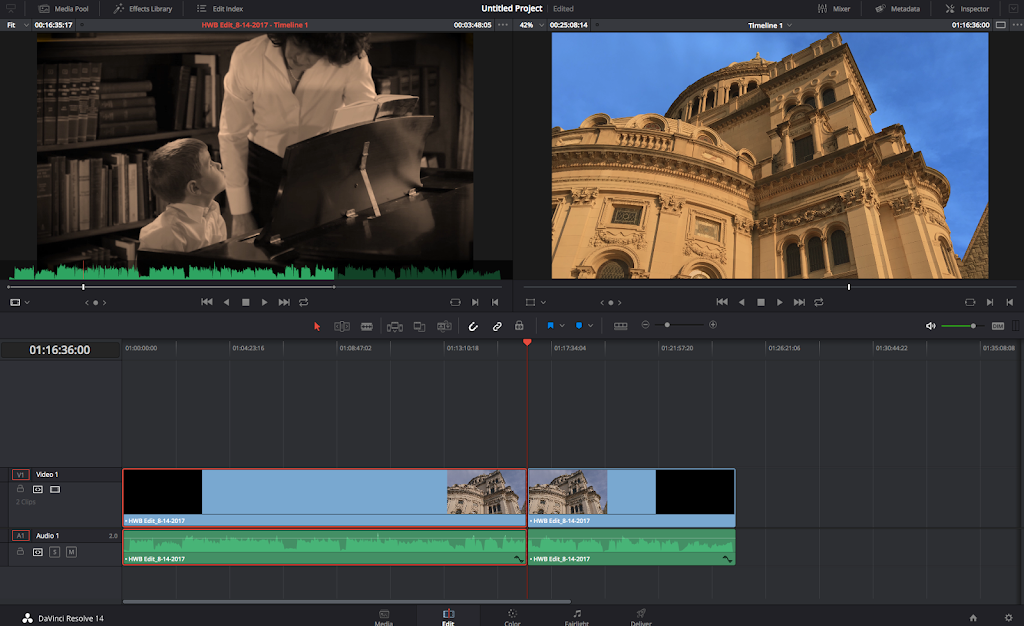 Screen grab of Davinci Resolve edit page